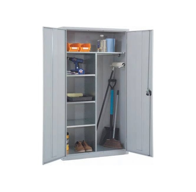 Janitors or Cleaners Cabinet (3 Half Shelves, 1 Full Width shelf) - Size 1830h x 915w x 457d mm
