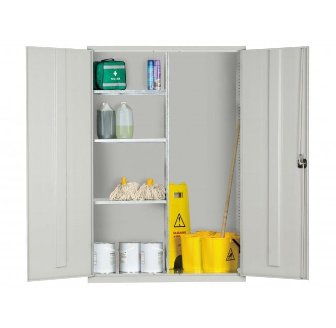 Wide Janitors, Cleaners Cabinet 1830h x 1220w x 457d mm (3 Half Shelves)